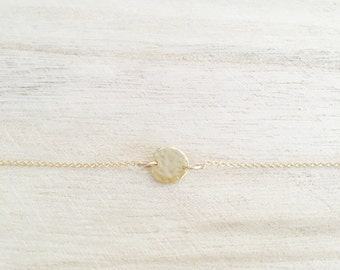Hammered gold dot necklace, dainty gold necklace, layering necklace, gold necklace