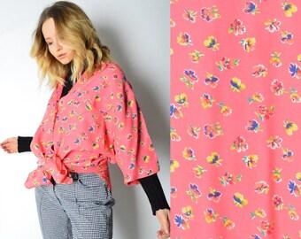 Vintage 90s Peach Pink Flower Shirt Size M/L