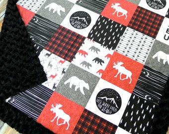 Plaid Baby Blanket - Mountain Baby Blanket - Moose Baby Blanket - Bear Baby Blanket - Lumberjack - Baby Blankets - Minky Baby blanket