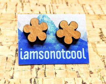 Wood Flower Earrings - Wood Stud Earrings, Laser-Cut Wooden Flower Studs, Walnut Wood Earrings, Hypoallergenic, Nickel-Free, Flower-Power