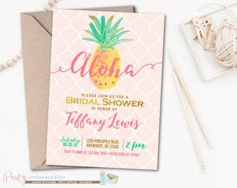Aloha Bridal Shower Invitation, Luau Bridal Shower Invitation, Pineapple Invitation, Luau Invitation, Hawaiian Bridal Shower Invitation