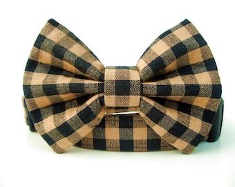 Tan and Black Bow Tie Dog Collar