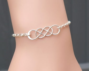 Handmade Double Infinity Bracelet In Sterling Silver, Unique Jewelry Gifts For Her, Infinity Symbol Jewellery, Figure Eight Bracelet
