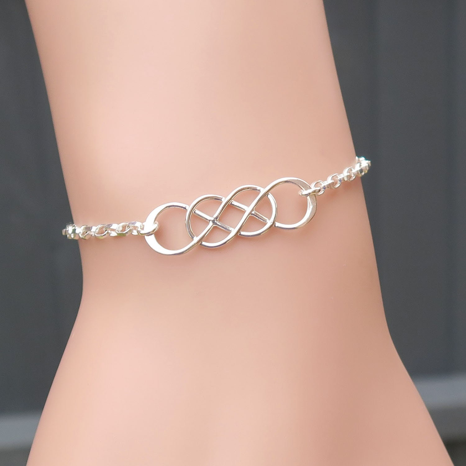 Handmade double infinity bracelet in sterling silver unique zoom biocorpaavc Image collections