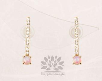 E321-PI-G / / plaqué or 3mm Rose opale avec ligne argent perceuse clou, 1 paire
