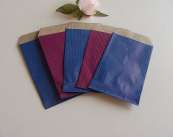 1 lot of 10 gift wrapping jewelry blue purple 7 * 12 cm bottom Brown kraft paper bag