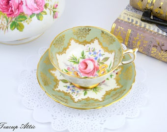 Paragon Sage Green Teacup and Saucer With Floral Center, English Bone China Teacup, Cabinet Teacup, ca. 1963