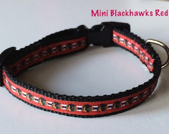 Mini Blackhawks Red Dog Collar
