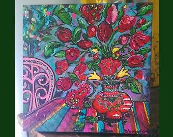 Alfresco, Original Painting, Vase of Flowers, Joy, Mixed Media, Bohemian, Art, Cheery,  Wall Art, Home Decor