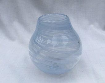 Dutch Blue Spiral Hand Blown Glass Bowl (AW B121)