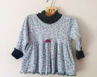 Vintage Floral Jersey Knit Curly Hem Dress/Top (Size 12 To 18 Months)