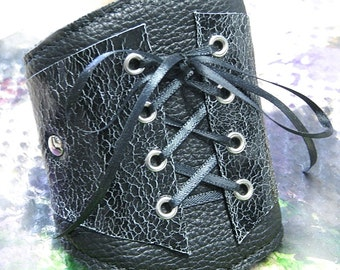 Women's Leather Corset Wrist Wallet Cuff - For Cards - with Secret Pocket - Crackled Black - MADE to ORDER
