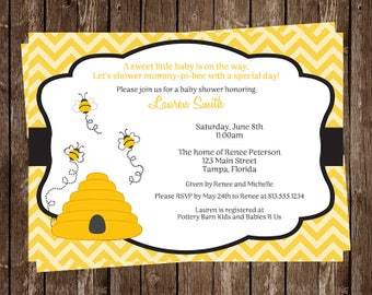 Bee Baby Shower Invitations, Bumblebee, Beehive, Honey, Buzz, Babee Shower, Honeycomb, Yellow and Black, 10 Printed Invites, FREE Shipping