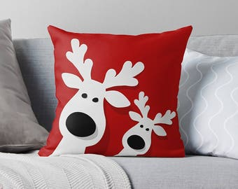 Christmas Pillow | Christmas Decorations | Christmas Throw Pillow | Christmas Decor | Holiday Pillows | Festive Decor | Reindeer Pillows