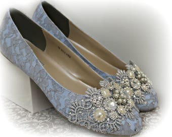 Blue Ballet Flats Wedding Shoes .. Something Blue Wedding Shoes . Bridal Flats. Sparkly Bridal Shoes . Lace Shoes . Wide Fit Available