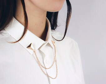 Triangle collar chain / customization of shirt collar / DIY metal tip / mischievous shop