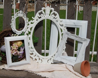 Set Of 5  White Rustic Shabby Chic Frames - Picture Frames - Gallery Wall Frames