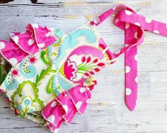 Baby Girl Romper - Baby Bubble Romper- Baby Romper - Kumari Garden - Foral - Pink Polka - Romper - Baby Sunsuit - Photo Prop - Vintage look