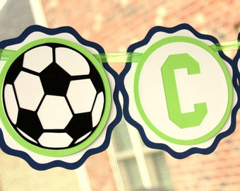 Soccer Party Banner - Soccer Birthday Party Decorations - Soccer Baby Shower Decor - Soccer Name Banner - Soccer Party Decor - 1st Birthday