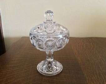 """Antique pressed glass covered compote, 7"""", nucut glass compote,"""
