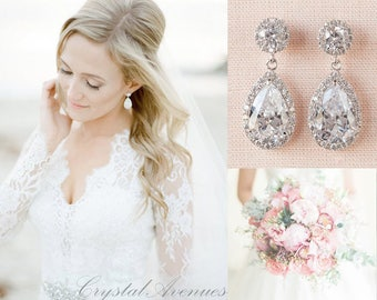 Bridal Earrings, Classic Crystal Wedding Earrings, Crystal Drop Earrings, Bridal Jewelry, Bridesmaid Wedding Jewelry, Brooke Bridal Earrings