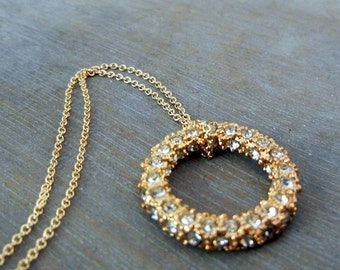 Yellow Gold Pave CZ  Eternity Ring Necklace - Ring of Fire - Elegant, Classic, Everyday Jewelry by E. Ria Designs
