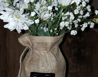 Mason Jar, Burlap, Printed Burlap Bag, Personalized Burlap, Jar Cover, Monogram, Burlap Mason Jar, Centerpiece, Rustic Wedding, 20 bag set