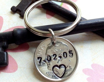 10 Year Anniversary Keychain/10th Anniversary Gifts for Men/  2008 Stamped Dime/Hand Stamped Dime/ Custom Dime/ Gift for Her