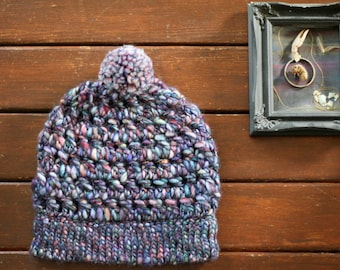 Torenia Handpainted Merino Beanie | Handspun Merino Art Yarn | Luxe Thick and Thin Wool | Purple Pink Blue White Green | PomPom