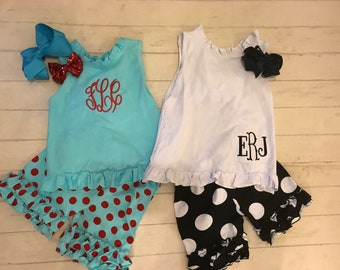 Toddler girls Shorts or tanktop with swag back/bow, Aqua/white tanktop with bow back,can  be Monogrammed, ready to ship
