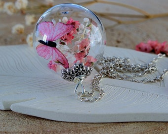 Butterfly Necklace, Pink Blossoms, Cherry Blossom Pendant, Gift for Her, Nature Necklace, Sakura Blossoms, Spring Necklace