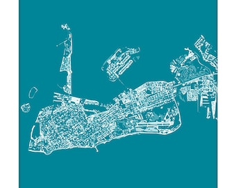 Key West Cityscape / Florida Map Art Print City Wall Art / 8x10 Poster / Choose your color