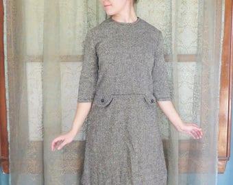 1960s Gray Tweed Wiggle Dress 60s Wool Dress Mad Men 60s Mod Dress Vintage Midi Dress Stacy Ames 60s Day Dress Secretary Lightweight Wool