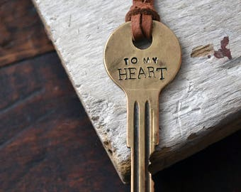 Key To My Heart Necklace - Hand stamped - Antique Key Necklace - Key To His Heart - Vintage Key Necklace - I Love You Key -Mens Key Necklace