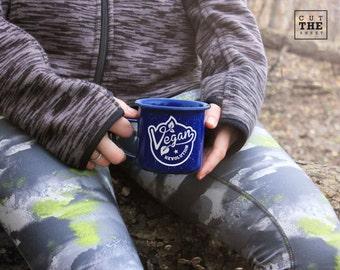 Vegan Revolution Mug, Camping Mug 12 oz, Adventure Mug, Travel Mug, Enamel Mug, Mountain Mug, Enamelware