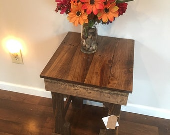 Wonderful Reclaimed Wood End Table Night Stand Farm Rustic Table