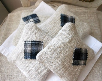 Grain sack sachet, lavender sachet with flannel patch