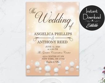 Pearl Wedding Invitation Set, Editable Template, Instant Download, Elegant Wedding Invite, Classic, Jewerly Invitation, High Class Wedding