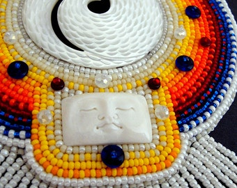 Dreaming of Cosmic Ideas bead embroidered medallion