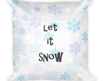 Let it Snow Square Pillow | Decorative Pillow | Throw Pillow | Winter Pillow | Snowflakes Pillow | Winter Couch Pillow | Winter Home Decor