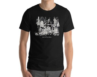 Day of the Dead All Souls Day Hand Illustrated Lord of the Follies Cemetery Shirt Sugar Skull Skeleton Bride Goth Occult Tee