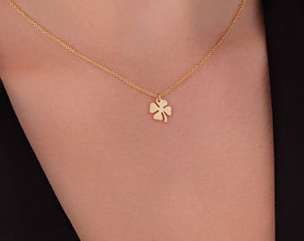 four leaf clover necklace gold. 4 Leaf Clover necklace. Best Friend Gift. Lucky Charm. Good Luck. Gold