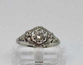 18k white gold diamond filigree ring