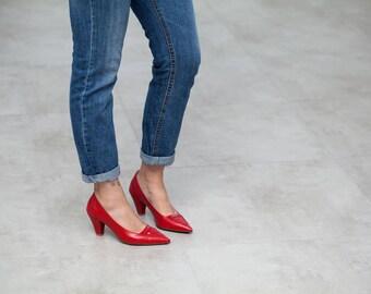 Sale 40% off! Red pumps, red shoes, women shoes, women pumps, red heels, evening shoes, wedding shoes, leather shoes, Saint Germain model