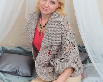 Crochet cardigan, wool cardigan, warm cardigan, crochet shrug, women crochet shrug, warm shrug, handmade cardigan, beige cardigan