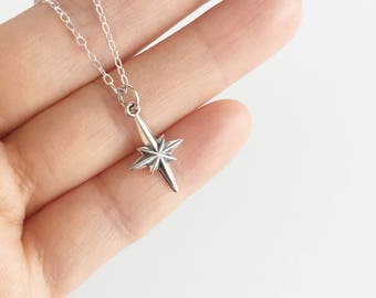 North Pole Star Necklace in Sterling Silver, Small Silver Polaris Star Charm Necklace, Nautical Star Jewellery, Graduation Gift