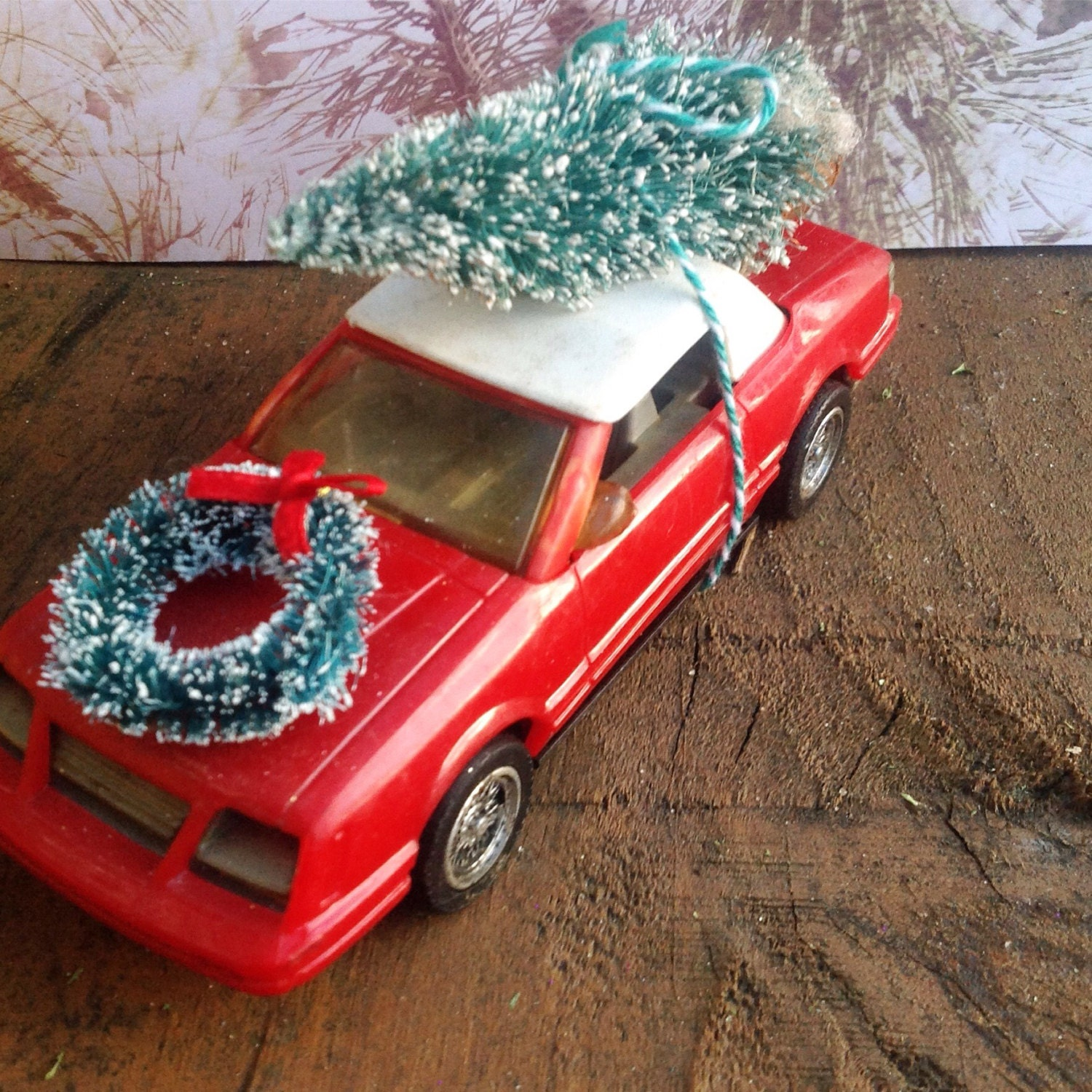description handmade and hand decorated vintage red convertible christmas car - Christmas Decorations For Your Car