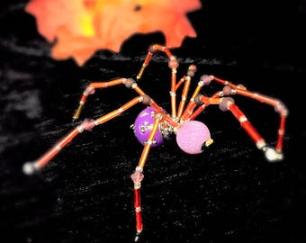 Beaded Wire Spider Hand Crafted in Purple and Orange