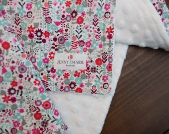 Baby Girl - Lovey - Blankie - Security blanket - Minky - Flowers - Floral pattern - Pink - White - Colorful - Baby shower gift