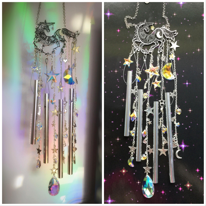 Unicorn suncatcher wind chime moon and stars crystal zoom buycottarizona Choice Image